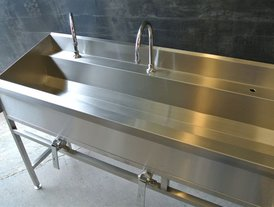 Stainless steel washroom trough