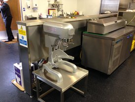 Commercial kitchen food mixer on stand