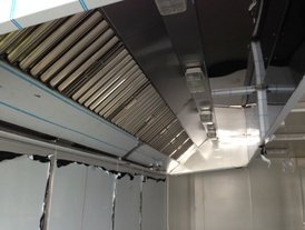 Stainless steel kitchen air extraction canopy