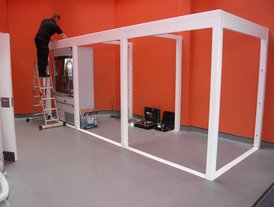 Modular coffee shop frame installation