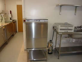 Maidaid stainless steel commercial dish washer on stainless steel stand with water softener