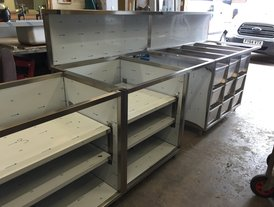Stainless steel kitchen unit framing for Corian worktop