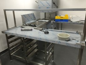 Stainless steel food preparation area