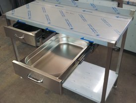 Stainless steel wall table with two drawers including removable 1/1Gn liners for ambient food holding