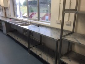 Stainless steel food preparation tables